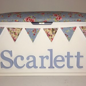 Floral Blue Toy Box