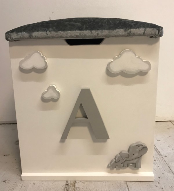 elephant theme grey personalised toy box