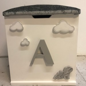 elephant theme grey personalised toy box