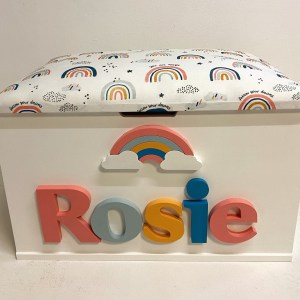 rainbow and raindrops toy box