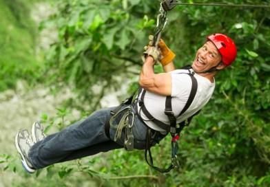Boring man goes ziplining