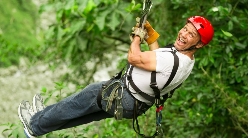 Boring man goes ziplining