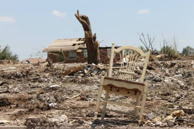 Debris left in the wake of the Moore, OK tornados, summer 2013.