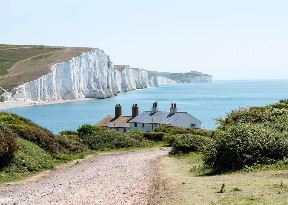 Row of coastguard cottages overlooking the English Channel and Seven Sisters Cliffs