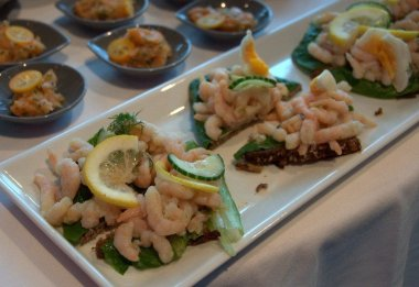 Open Sandwiches - Shrimp on Rye Bread