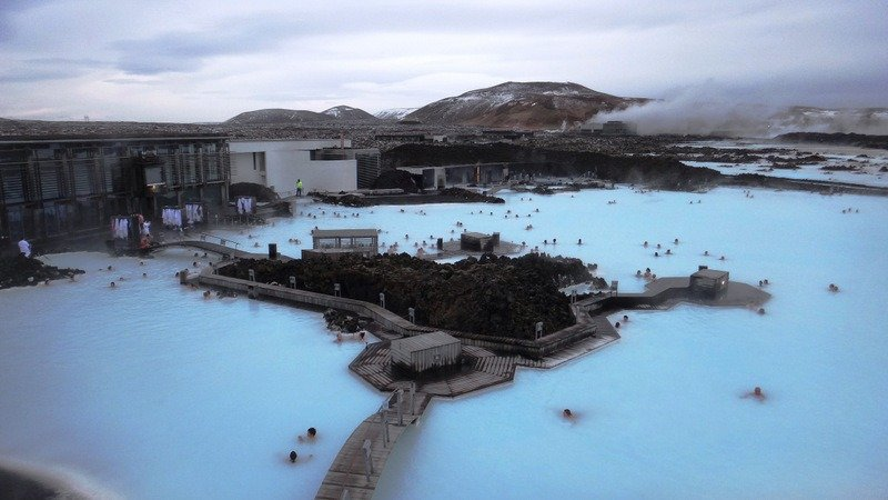 Looking down on The Blue Lagoon, Iceland