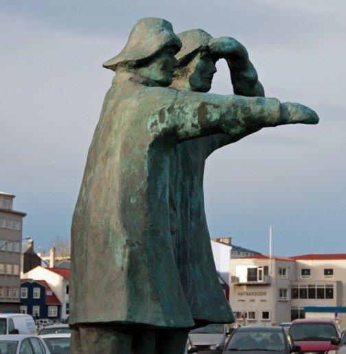Statue overlooking Reykjavik Old Harbour