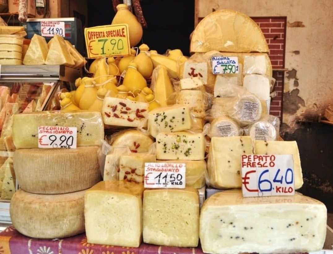 Catania Market - A Selection of Sicilian Cheeses in the Market