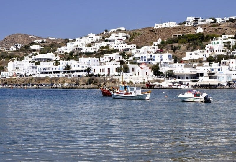 Boats in the Bay in Mykonos Town