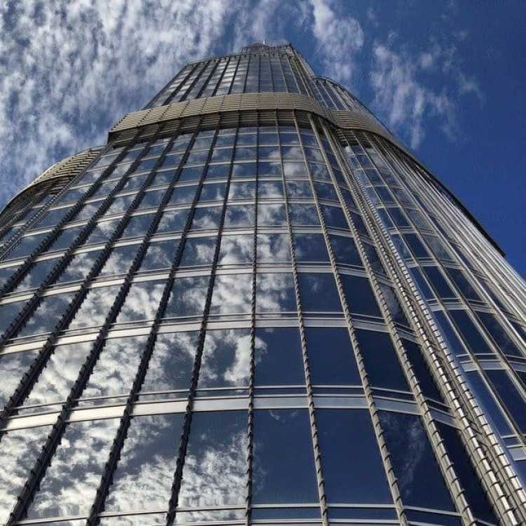 Looking up at the Burj Khalifa