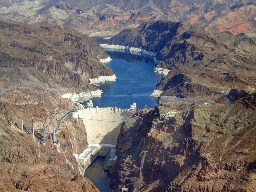 Aerial view of Hoover Dam and Colorado River