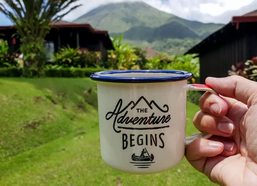 The Adventure Begins tin mug by Arenal Volcano