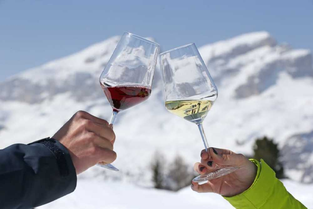 red and white wine clinking with mountain backdrop