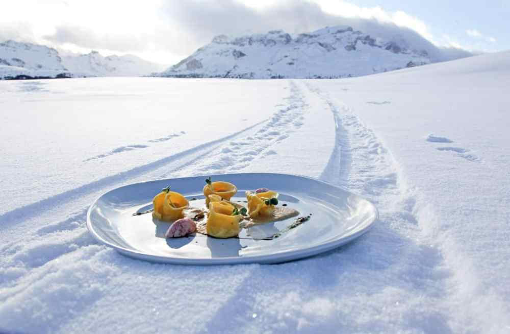 plate of food on the snow