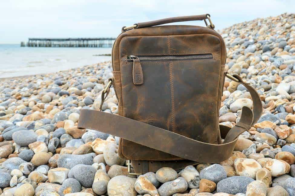 Brown leather Indy Scaramanga bag