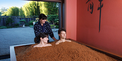 Getting hot at the Osmosis Spa Cedar Baths