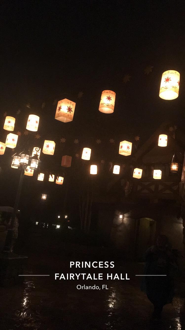 Lanterns from Tangled hanging up in Princess Fairytale hall at Disney World, Orlando, Florida