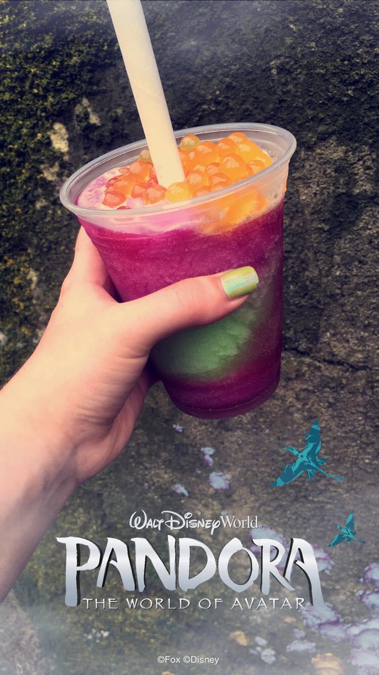 Purple and green Pandora Slushie with orange fruit beads