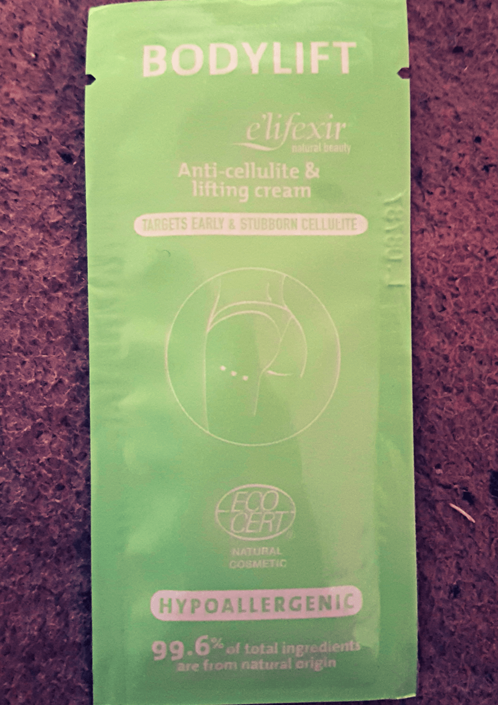 Green sachet with Bodylift written on it with a diagram of a pushed up bottom