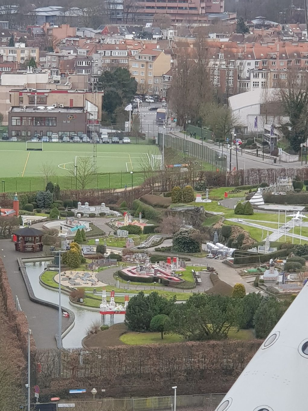 A view from the Atomium over mini-Europe. Model landscapes of all the different countries in Europe