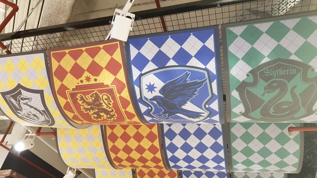 Banners for the Hogwarts houses above the Harry Potter section in the world's largest Primark