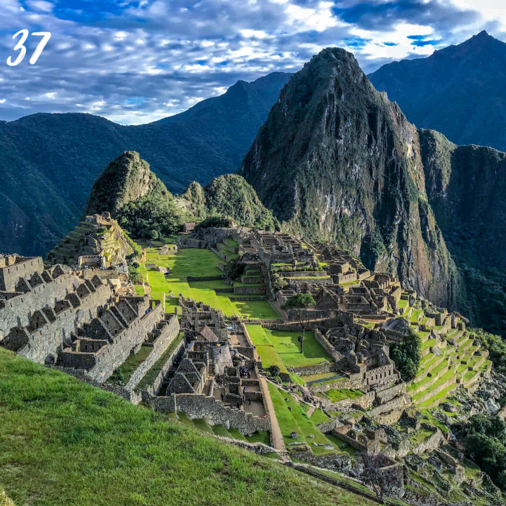 Number 37. Machu Picchu ancient village in tiers up a mountain side