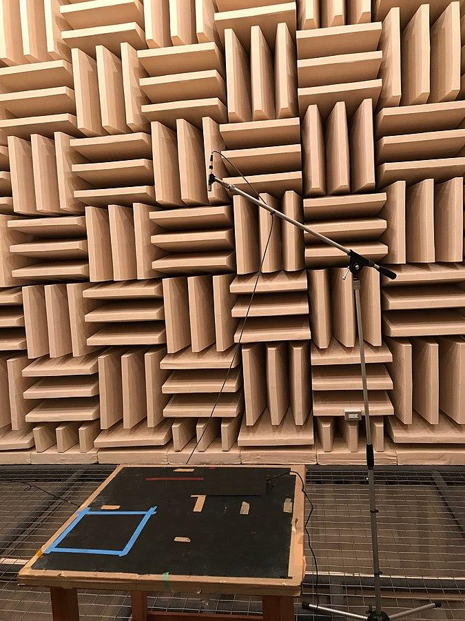 Inside an anechoic chamber