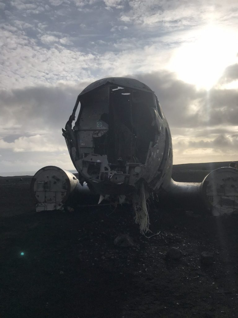 Looking through the nose of the crashed plane