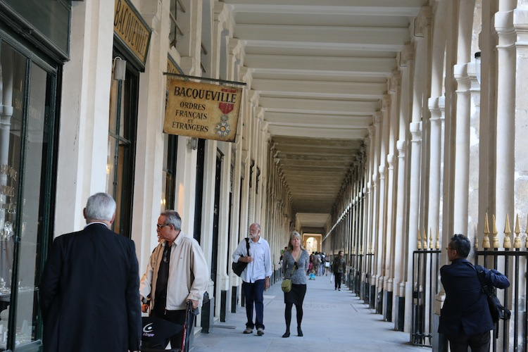 Shops around Royal Palace gardens Paris
