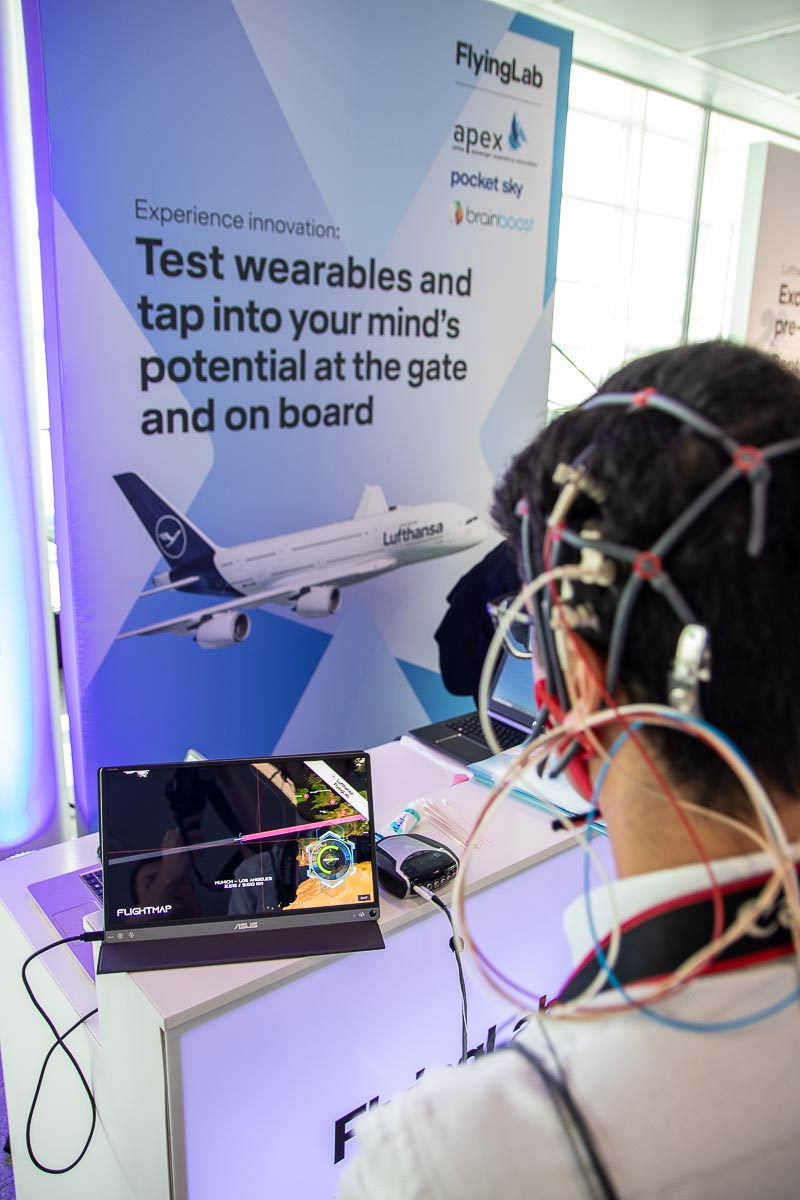 Lufthansa FlyingLab Los Angeles Airbus A380 Gate Event Brainboost Experiment