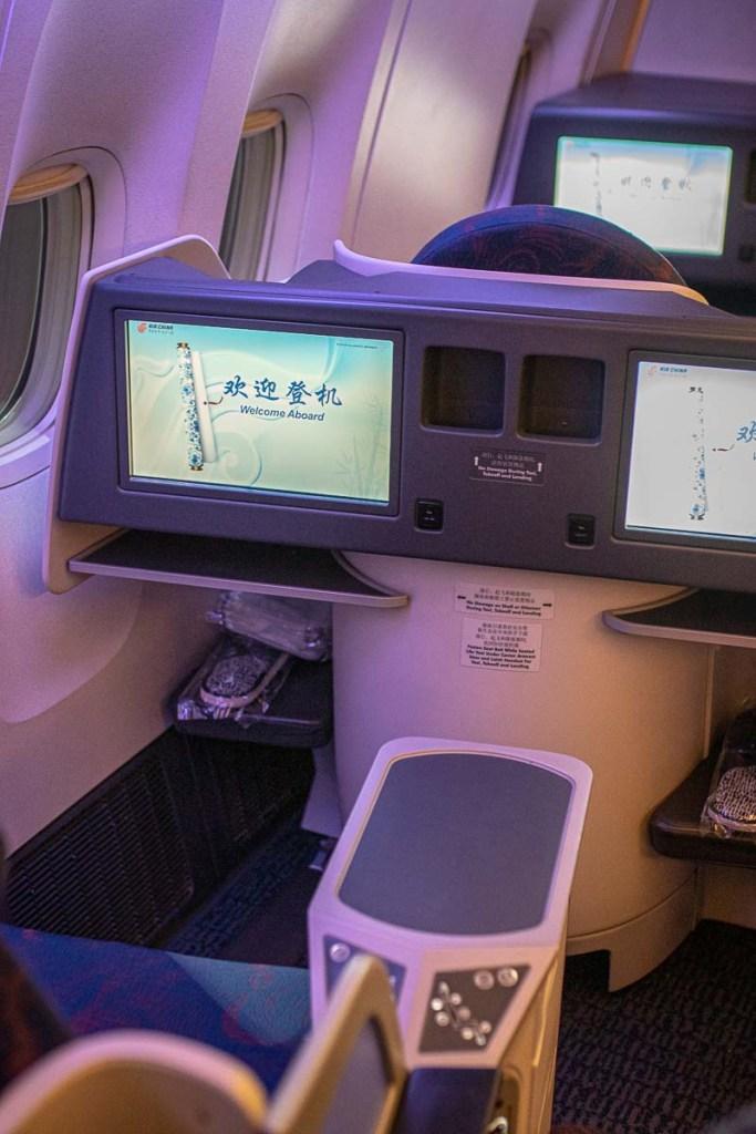 Air China Boeing 777 Business Class Kabine und Sitz-2
