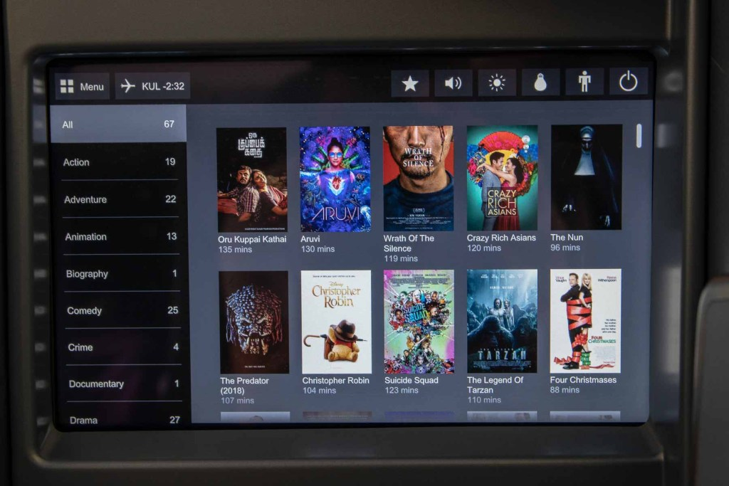 Malaysia Airbus A330-200 Business Class Flime TV Shows und Lieder-2