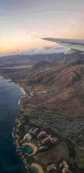 View from plane landing in Honolulu