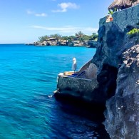 Sun Bed and the Blue Hole at The Caves, Negril
