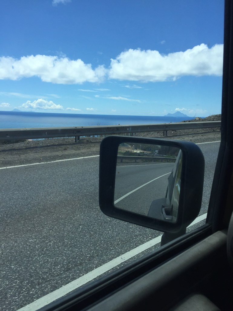 Saba and St. Eustatius on the horizon