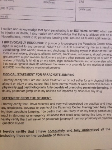 Liability document before the jump