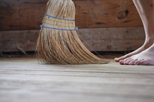 beware of sweeping over thy foot