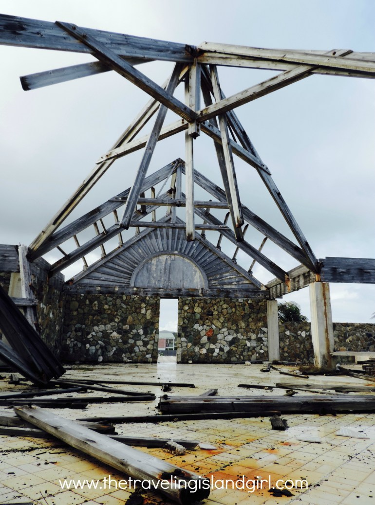 What remains today of the lobby of a Oyster Pond hotel
