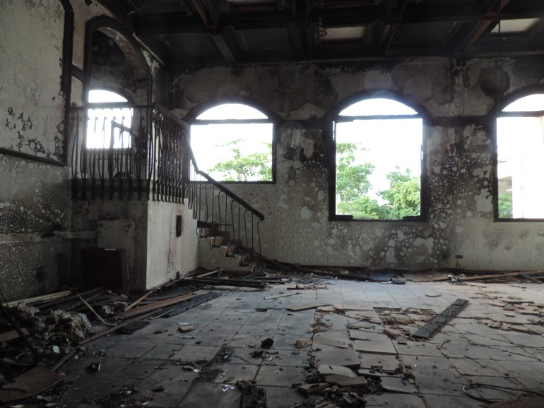Burnt down ballroom