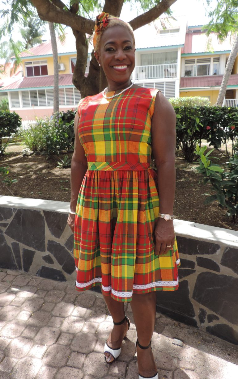 Madras print dress: typical creole pattern