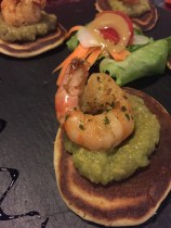 Shrimp with guacamole on Bliny