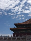 The day we visited the Forbidden City, weather was the nicest it has been in Beijing in a while - blue skies, white clouds, and incredibly hot.