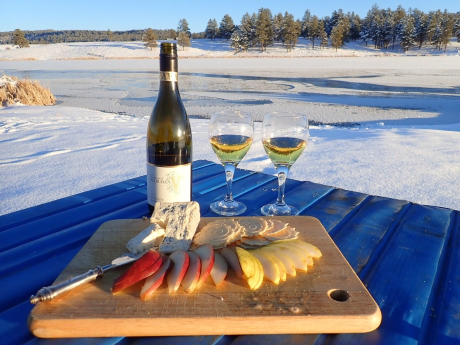 Viognier with pears and blue cheese next to Echo Lake, just outside of Pagosa Springs, Colorado