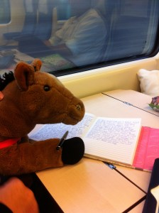 Teddy Bear taking a moment to relax and enjoy the scenery while journaling - Spain