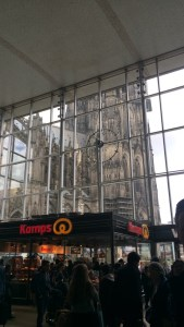 The cathedral from the inside of the Hauptbahnhof.