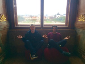 "Matt and Jake were getting their ""zen"" on with the random velvet exercise balls - Vienna, Austria"