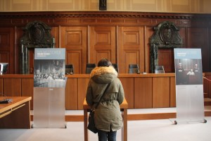 Standing in the actual courtroom where the Nuremberg Trials were held - Nuremberg, Germany