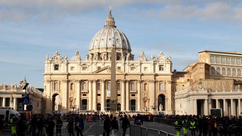 The outside of St. Peter's Basilica before the crowds overtook the square - Vatican City, Rome, Italy