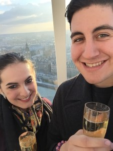 Christian and I enjoying the bougie life high above the city - London, England