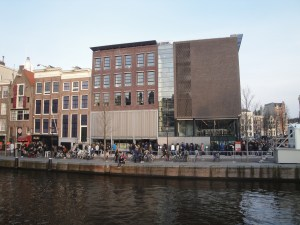 You risk standing in this long line at the Anne Frank House if you don't purchase tickets ahead of time. The end of the line isn't even visible from here! - Amsterdam, Netherlands
